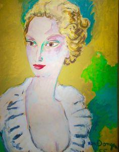 Kees van Dongen (NL 1877-1968 Mon) Portrait of madame Agnelli / Dame Jaune (1958)