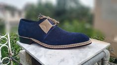 Handmade Luxury Bespoke Derby shoes, Men's Navy Retro Elegant Suede Lace up Shoe High Leather Boots, High Ankle Boots, Suede Leather Shoes, Calf Leather, Wingtip Shoes, Loafer Shoes, Lace Up Shoes, Me Too Shoes, Art Shoes