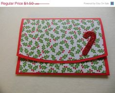 ON SALE Gift Card Holder with Candy Cane by FlipFlopCards on Etsy, $1.13