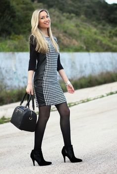 look do dia, ootd, outfit, look of the day, pied-de-coq, padrões, classic print, dress, vestido, pied-de-coq dress, leather, couro, ankle bo...