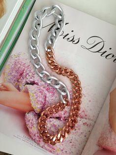 La vie en Rose Necklace. Rose Gold and silver chain necklace . $30.00, via Etsy.