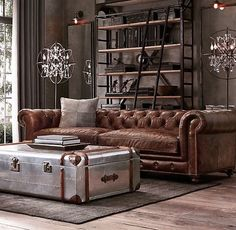 awesome 46 Awesome Rustic Industrial Living Room Design And Decor Ideas Living Room Sofa, Living Room Decor, Chesterfield Living Room, Manly Living Room, Chesterfield Sofas, Apartment Living, Leather Living Room Furniture, Leather Chesterfield, Living Room Ideas With Leather Sofa