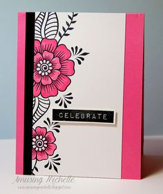 Altenew stamps: Hennah Elements and Label Love, Amusing Michelle, try modern mehndi File Decoration Ideas, Altenew Cards, Card Making Inspiration, Flower Cards, Diy Cards, Homemade Cards, Cardmaking, Creations, Paper Crafts