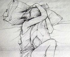 8 x 10 - The Science of Missing You - fine art print - gevoelige grijs tekening van een meisje en haar kussen