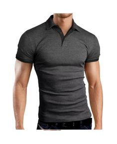 Mfasica Men Short Sleeve Patched Polo Shirt Silm Fit Hit Color Tees