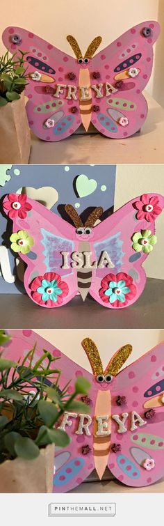Personalised butterfly name plaque Butterfly bedroom plaque Butterfly door plaque Personalised kids room plaque Personalised Kids plaque