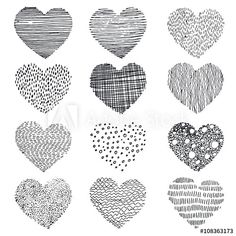 set of abstract textured doodle hearts