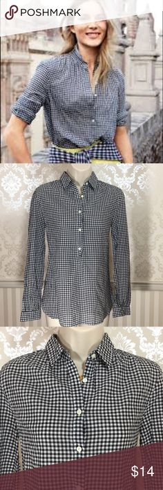 "J. Crew Gathered Popover Black Gingham Shirt J. Crew gathered popover shirt in excellent condition. Classic black gingham. This shirt boasts feminine details like gathering at the sleeves and a smaller collar. Long roll-up sleeves. Bust is about 36,"" length is approximately 25."" 99% cotton, 1% Elastane. Size 00. J. Crew Tops"