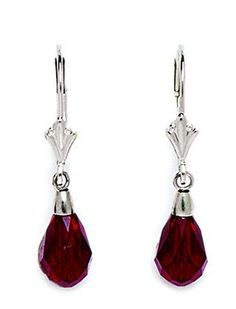 14k White Gold Garnet 9x6mm Swarovski Crystal Pear Drop Leverback Earrings - Measures 29x6mm JewelryWeb. $88.80