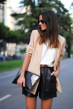 21 Stylish Ways To Wear A Plain White T Shirt - lightweight nude blazer, casual white t-shirt, + sleek high-waisted leather shorts
