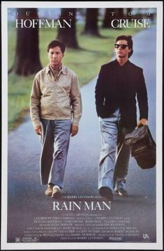 Rain Man Poster: I'll always remember this film because I was an extra and watched Dustin Hoffman and Tom Cruise do the final seen from 2 feet away. Film Movie, Film Gif, See Movie, Movie Cast, Video Film, Dustin Hoffman, Rain Man Film, Tom Cruise, Movies Showing