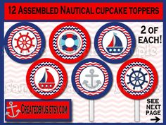 Nautical Cupcake Toppers Nautical Baby shower Decorations