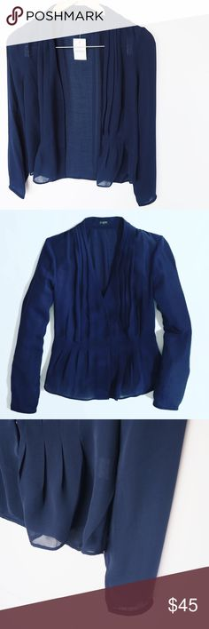 J Crew Sheer Blouse Navy blue JCrew sheer blouse. Can be worn button or undone, buttons only go halfway. NWT! J. Crew Tops Blouses
