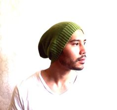 Beanie Hat Slouch Men Clothes unisex Green Knit   by MissTopKnot, $30.00
