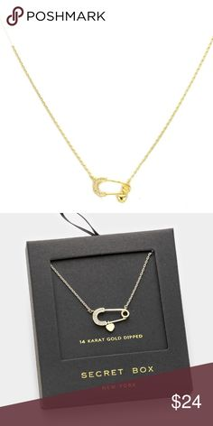 "Gold/Crystal Safety Pin & Heart Charm Necklace 14K gold dipped. 16"" + 3"" extender. Pendant size: .25"" x .75"" Secret Box New York Jewelry Necklaces"