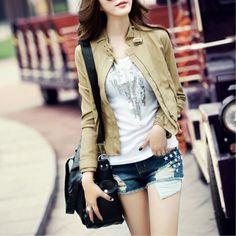 2012 Fall and Winter New Arrivals Khaki Stand Collar Locomotive Short Style PU Leather Jacket,Wendybox Jumpers For Women, Coats For Women, Frock And Frill, Faux Leather Jackets, Pu Leather, Fashion Outfits, Womens Fashion, Leather Fashion, Nice Dresses
