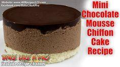 Mini Chocolate Mousse Chiffon Cake Recipe Chocolate Mousse Recipe, Best Chocolate Cake, Chocolate Glaze, Chocolate Recipes, Fudge Recipes, My Recipes, Cake Recipes, Best Food Ever, Chiffon Cake