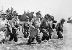 MacArthur, Douglas: arriving ashore during the initial U.S. landings at Leyte, Philippines, October 20, 1944