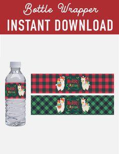 SALE Christmas water bottle wrapper labels - llama alpaca Lumberjack Buffalo Plaid label bottle - Glad to Make It - Holidays Printable Labels, Party Printables, Diy Christmas, Christmas Decorations, Holiday, Bottles For Sale, Llama Alpaca, Mineral Water, Bottle Labels