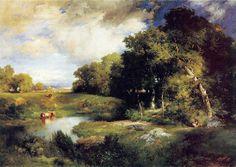 Thomas Moran A Pastoral Landscape painting anysize 50% off