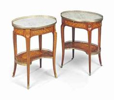 A NEAR PAIR OF LOUIS XV ORMOLU-MOUNTED TULIPWOOD, SATINE AND FRUITWOOD MARQUETRY TABLES A ECRIRE ONE BY JEAN-PIERRE DUSAUTOY, THE OTHER ATTRIBUTED TO JEAN-PIERRE DUSAUTOY, MID-18TH CENTURY
