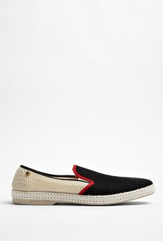 Black Piped Mesh Canvas Shoes by Rivieras