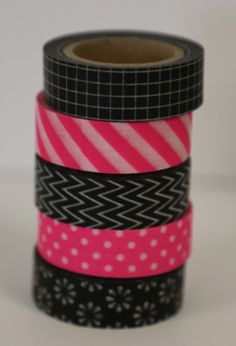 Black and Hot Pink Washi Tape - Set of 5 Rolls Each 15mm x 10m