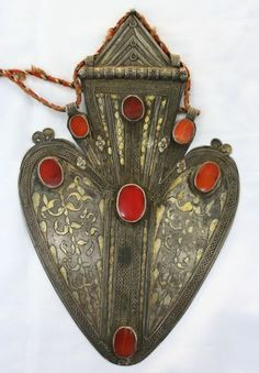 Turkoman Aysk pendant ~ silver, gold wash and carnelians.  ca. 155 years old | 1750$