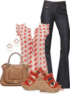 """""""coral dot"""" by fluffof5 on Polyvore"""