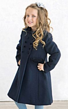 Little girl's winter coat in wool with velvet trim. Childrens Coats, Kids Coats, Little Girls Winter Coats, Girls Wear, Kids Fashion, Wool Coats, Daughter, Classic Girl, How To Wear