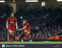 Download this stock image: Cardiff, UK. 29th Nov, 2014. Leigh Halfpenny of Wales kicks a penalty - Autumn Internationals - Wales vs South Africa - Millennium Stadium - Cardiff - Wales - 29th November 2014 - Picture Simon Bellis/Sportimage. Credit:  csm/Alamy Live News - EBF578 from Alamy's library of millions of high resolution stock photos, illustrations and vectors.