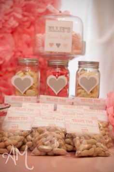 pink elephant birthday party. fill jars with dried fruits.