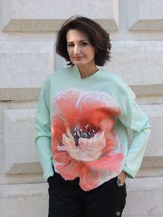 """Кофты и свитера ручной работы. Ярмарка Мастеров - ручная работа. Купить джемпер """"I am"""" -коралл и мята. Handmade. Мятный"""