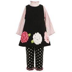 Bonnie Jean GIRLS 2T-6X 3-Piece BLACK PINK WHITE STRIPE KNIT BONAZ FLOWER BORDER FLEECE Dress/Legging Outfit Set Bonnie Jean, http://www.amazon.com/dp/B00921KXDW/ref=cm_sw_r_pi_dp_AFqoqb1S03D7G
