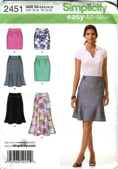 Simplicity 2451  Easyto Sew Skirt pattern  2 styles by bellaloona, $4,00