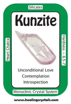 """Crystal Card of the Day: Kunzite, """"I release outer influences and am filled with divine love."""" Kunzite connects us to the source of unconditional love, centering us and giving us a sense of deep."""