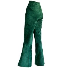 RARE Vintage Gucci Suede Leather Green High Waisted Bell Bottoms | From a collection of rare vintage pants at https://www.1stdibs.com/fashion/clothing/pants/