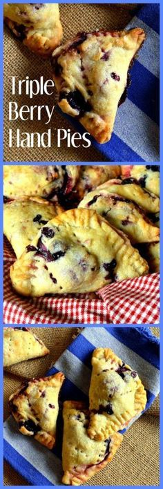 Triple Berry Hand Pies have a cream cheese crust and are filled with blueberries, blackberries and raspberries. Triple Berry Hand Pies are made for crust lovers and berry lovers! They are perfect for dessert and don't think you can just stop at one! #pie Tart Recipes, Sweet Recipes, Baking Recipes, Dessert Recipes, Pie Dessert, Baking Pies, Healthy Recipes, Just Desserts, Delicious Desserts