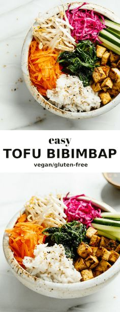 This easy tofu bibimbap is healthy and bursting with flavour! You& love this Korean inspired recipe! The post This easy tofu bibimbap is healthy and bursting with flavour! You& love this K& appeared first on Diet. Vegan Dinner Recipes, Delicious Vegan Recipes, Whole Food Recipes, Vegetarian Recipes, Healthy Recipes, Vegan Main Dishes, Healthy Dishes, Vegan Bibimbap, Vegan Recipes