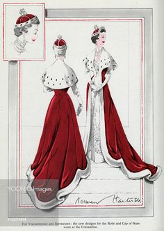 Designs for the Robe & Cap of State worn at the 1953 Coronation of Queen Elizabeth II and worn by Viscountesses and Baronesses, designed by Norman Hartnell.