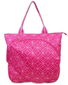 Find the best #tennis accessories at #lorisgolfshoppe : Pink Geo Gem All For Color Ladies Tennis Tote