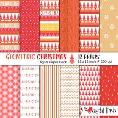 Geometric Christmas Digital Papers  12x12  by TheDigitalFinch