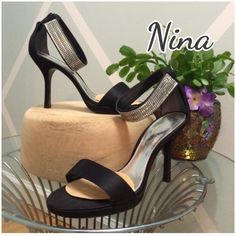 """NWOB - Nina Satin Heels with Mesh Ankle Strap Only tried on and added the ball pads for comfort. No flaws. 4"""" heel Nina Shoes Heels"""