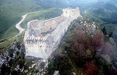 Château de Montségur is a former fortress near Montségur, a commune in the Ariège department in southwestern France. Its ruins are the site of a razed stronghold of the Cathars.