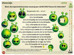 """Ŝerco: """"Kiom da esperantistoj esta necesaj por skribi unu frazo ĉe interreto?""""  #migo #esperanto #anto #ŝerco #leĝo #toño #tonjo #komencanto #grupo #interreto #babilado #debati #verbo Esperanto Language, U Nu, Pli, Let It Be, Learning, Languages, Teaching, Studying"""