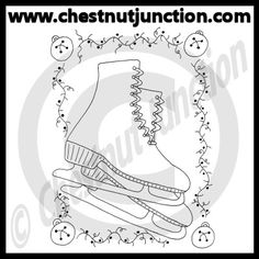 Christmas Skates Line Art