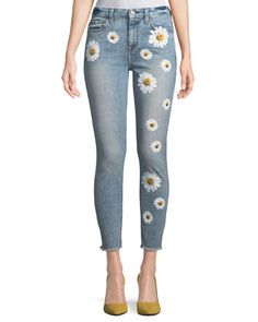 High-Rise Ankle Skinny Jeans w/ Daisy Floral-Print & Raw-Hem by 7 For All Mankind at Neiman Marcus Neo Grunge, Style Grunge, Soft Grunge, Diy Jeans, Ripped Jeggings, Ripped Skinny Jeans, Painted Jeans, Painted Clothes, Outfit Jeans