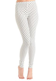 Pattern of Perfection Leggings - Cream, Black, Polka Dots, Vintage Inspired, 90s, Casual, Tis the Season Sale