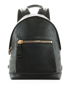 Zip-Pocket Pebbled Backpack, Black by Tom Ford at Bergdorf Goodman.
