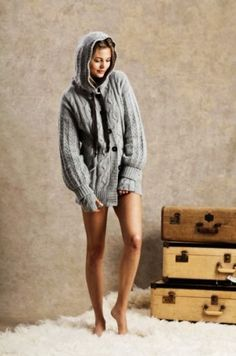 Oversized cable knitted sweaters, fancy light grey long sleeves loose Oversize sweaters, hooed cable knit cardigan - LoveItSoMuch.com